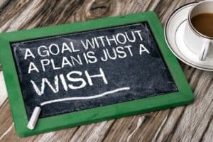 chalkboard with these words goal without a plan is just a wish