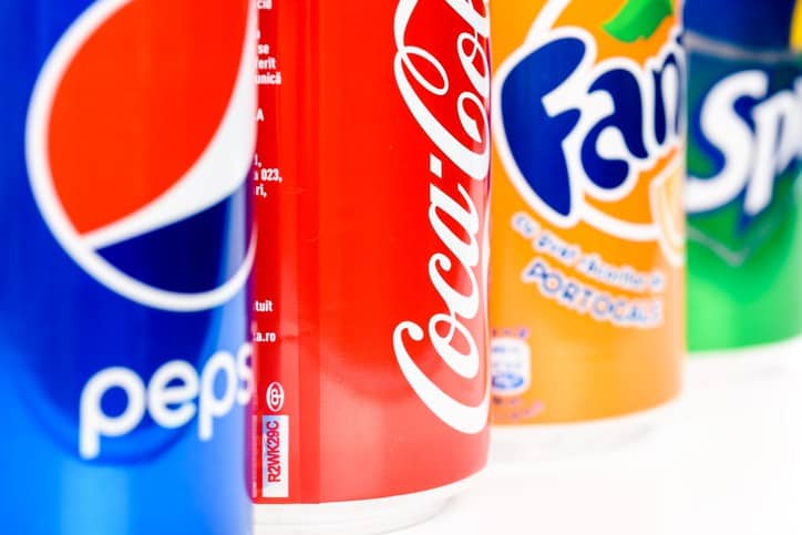 pepsi coke fanta and sprite cans lined up