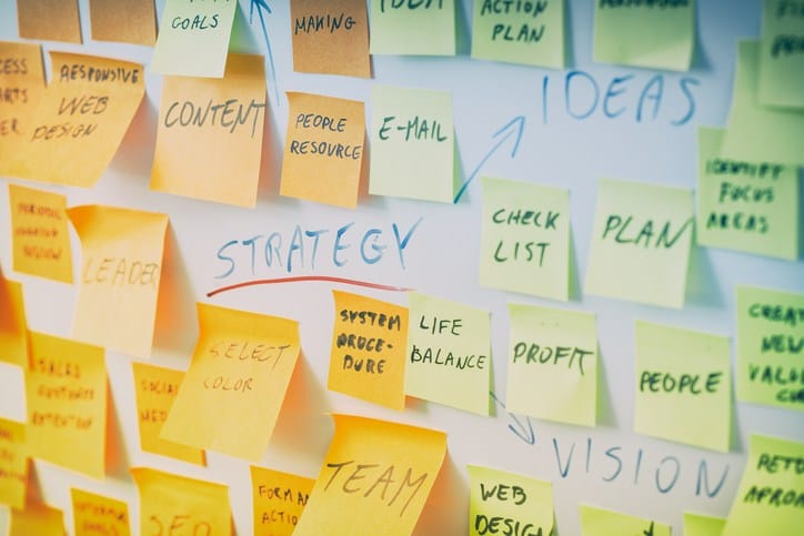 board full of colorful sticky notes regarding strategy terms