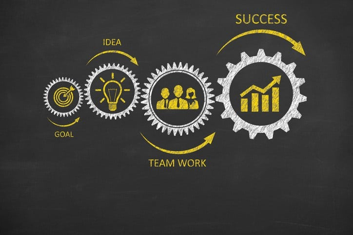 infographic gears goal idea teamwork success