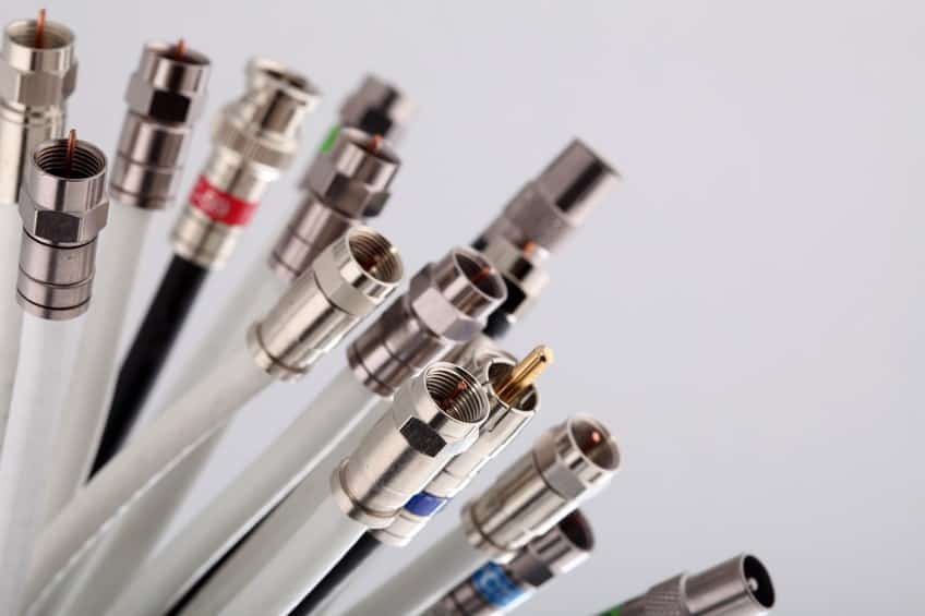 close up of a dozen coaxial cables