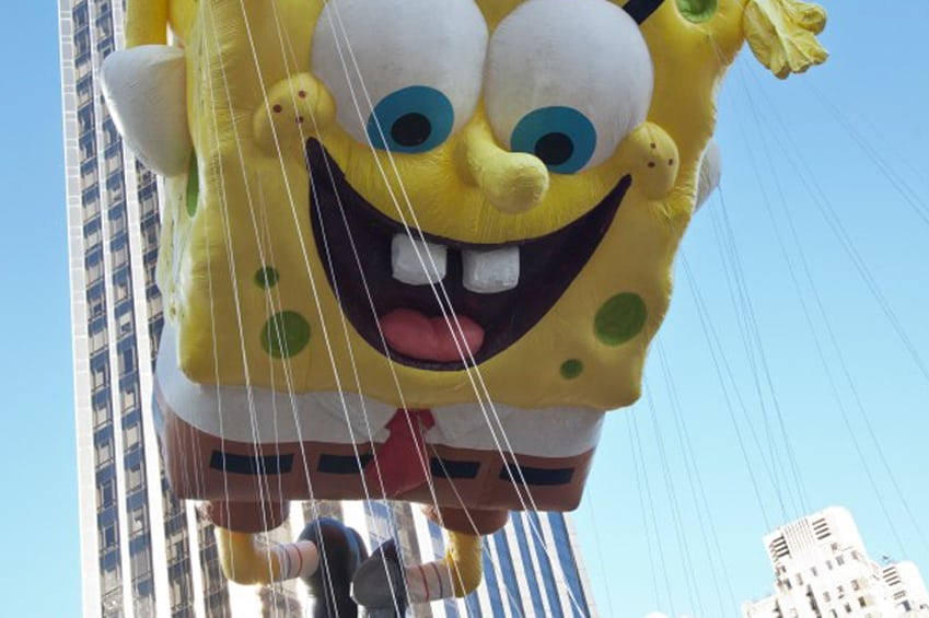 giant sponge bob float at a parade