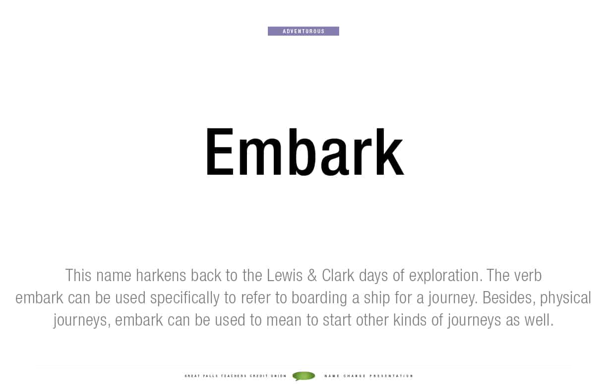 Embark Federal Credit Union Naming Definition