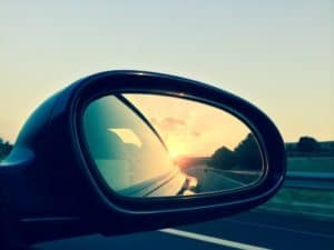 close up photo of automobile passenger sideview mirror