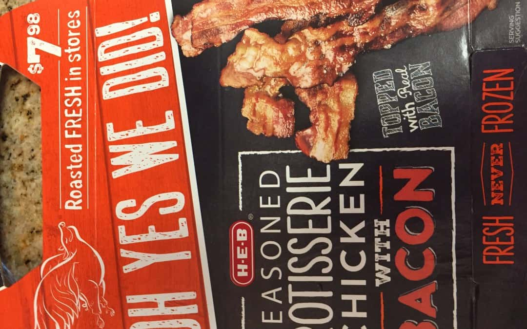 food packaging of rotisserie chicken with bacon