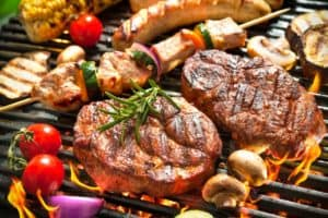 delicious stakes and shish ka bobs on grill
